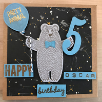"Birthday ""Party Animal: Happy Bear"" Card Personalised Name and Age (6, 5 or 4)"