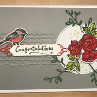 "Congratulations ""Bird & Roses"" Card"
