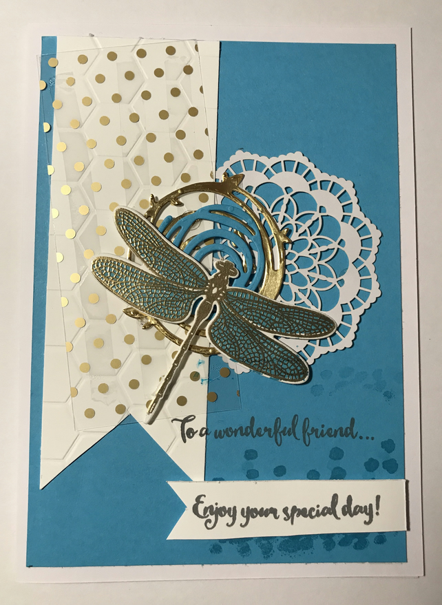 "Birthday ""Gold Embossed Dragonfly Dreams"" Card"