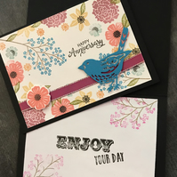 "Happy Anniversary ""Berry Bird Bouquet"" Card"