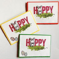 "Easter ""Happy Bunny"" Set of 3 Cards"