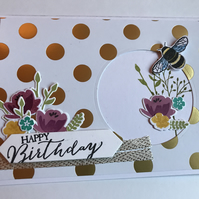 "Birthday ""Floral BumbleBee"" Card plus matching Gift Tag Personalised"
