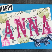 Happy 21st Balloon Dog Personalised Birthday Card