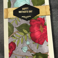 "Beautiful Hand-coloured ""Tropical Flowers with Bee"" Mother's Day Card"