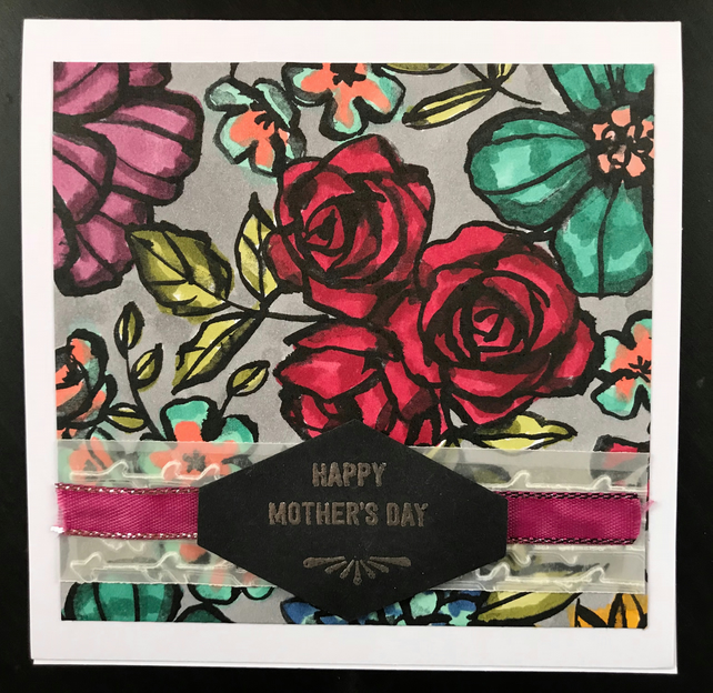 "Mother's Day Hand-coloured ""English Red Roses"" Card"