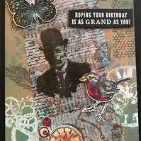 "Steampunk ""Bowler Hat"" Layered Birthday Card"