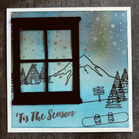 Northern Lights Wintersport Christmas Card