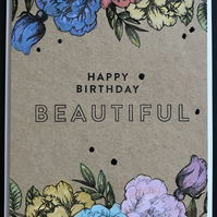 "Birthday ""Beautiful Flowers"" Card"