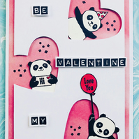 "Valentine ""Be Mine"" ft. Party Pandas Hearts Card"