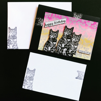 Happy Birthday from all us ... Cats and Butterflies Ombre card