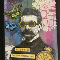 "Birthday ""Make a Wish Prof"" Steampunk-Style Card"