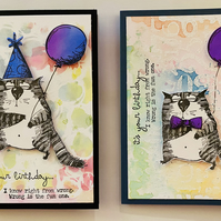 "Birthday ""Sarcastic Cat Wrong is Fun"" Card based on Tim Holtz Snarky Cat"