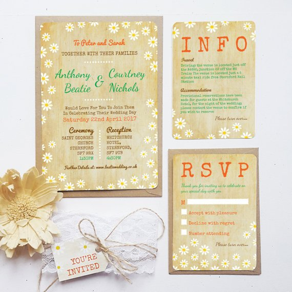 Rustic Wedding Invitation Sample - Spring Daisies Invite Bundle