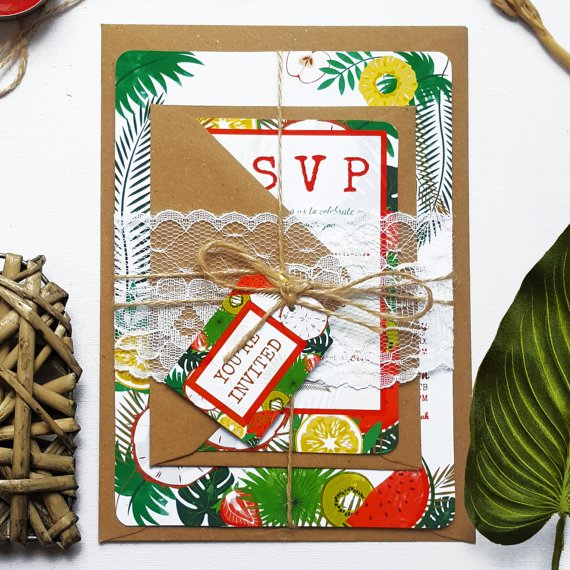 Rustic Wedding Invitation Sample - Tropical Summer Invite Bundle