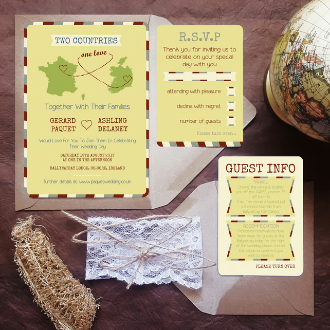 Rustic Wedding Invitation Sample - Two Countries Invite Bundle