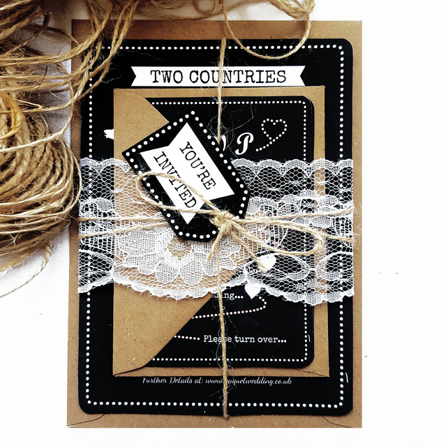 Rustic Wedding Invitation Sample - Two Countries Chalkboard Invite Bundle