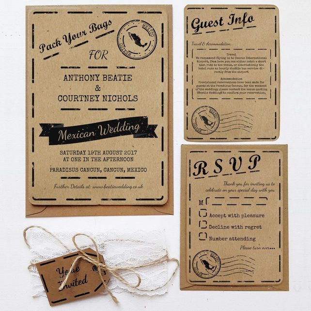 Rustic Wedding Invitation Sample - Two Countries Kraft Invite Bundle