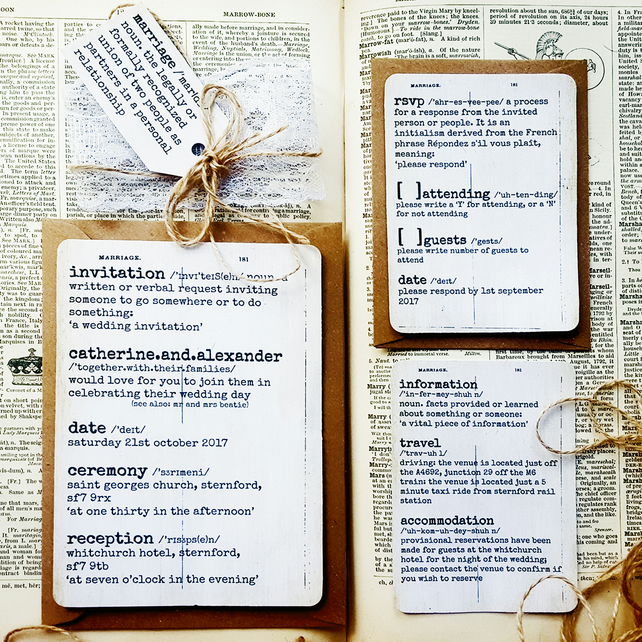Rustic Wedding Invitation Sample - Dictionary, Book Lover Theme
