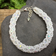 Crystal and Seed Bead Netted Bracelet
