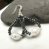 Hematite and Crackled Quartz Gemstone Earrings.