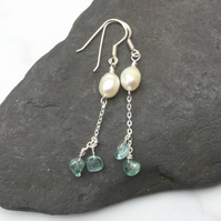 Freshwater Pearls and Aquamarine Chip Gemstone Sterling Silver Earrings.
