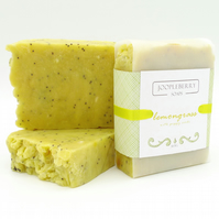 REDUCED!!...Lemongrass Essential Oil Handmade Soap with Poppy Seeds. 165g