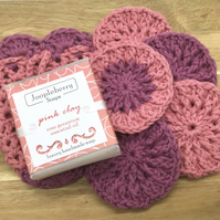 Soap Gift Set. Hand Made Natural Soap, Crocheted Facial Pads and Soap Sock.