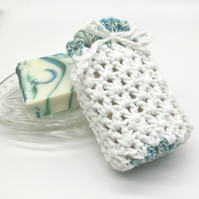 White and Blue-Green Crocheted Soap Sock Saver Pouch.