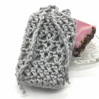 Light Grey Crocheted Soap Sock Saver Pouch.