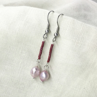 Freshwater Culture Pearls and Glass Seed Bead Drop Earrings.