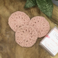Set of 3  Antique Pink Crocheted Reusable Facial Make Up Pads Wipes Scrubbies.
