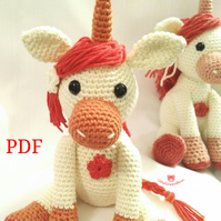 Usha the Unicorn PDF Crochet Pattern, Unicorn Amigurumi Pattern