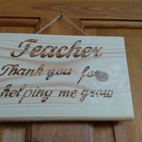 Wood and pyrography Teachers wall plaque, unusual and personal gift