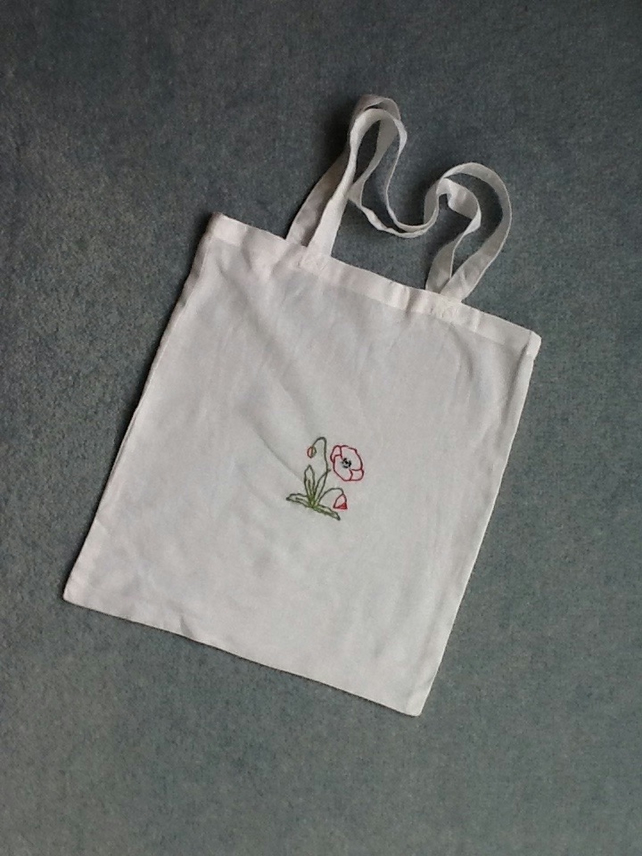 Hand embroidered white cotton tote bag