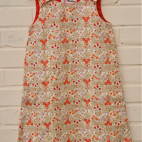 Girl's liberty style pinafore dress, floral pinafore, toddler dress, baby dress