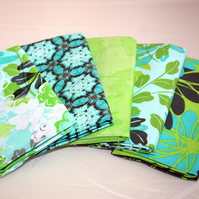100% Cotton Fat Quarter Bundle of 5, Lime green and turquoise floral pattern