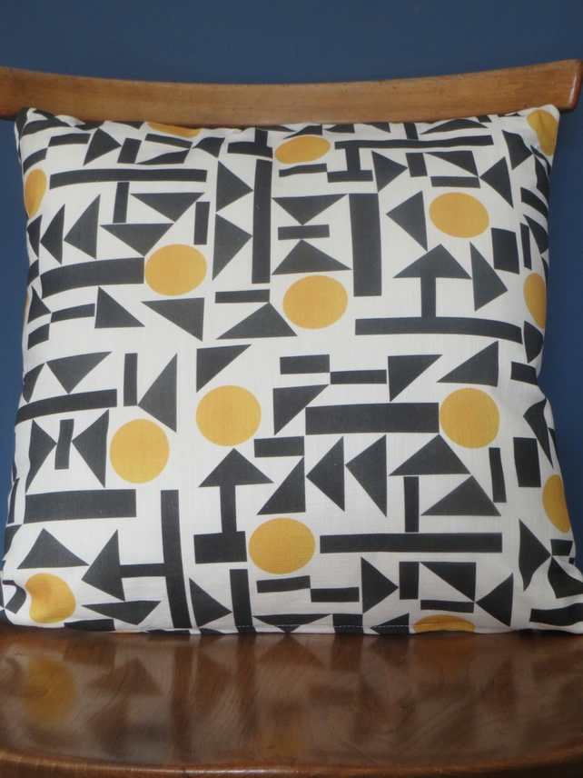 Bold, graphic yellow, grey and black pattern Cushion