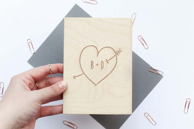 Wooden Love Card, Personalised Love Card, Wood Anniversary Card,
