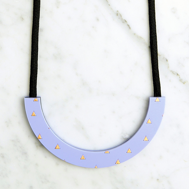 Acrylic Violet Half Circle Necklace