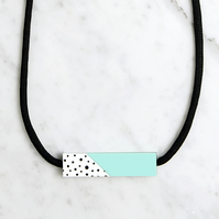 Mint and White Acrylic Short Bar Necklace
