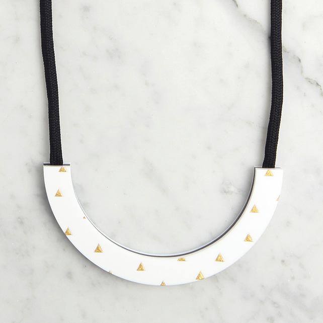 Acrylic Monochrome Half Circle Necklace