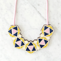 Handmade Geometric Bib Necklace on Pink Rope