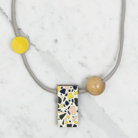 Rectangular Terrazzo Pattern Necklace, Day