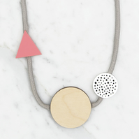 Handmade Geometric Shapes Acrylic and Birch Plywood Necklace,  Grey