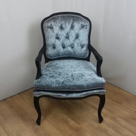 Louis Style chair in Steel Grey crushed velvet