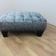 Crushed Velvet Quilted effect top stool