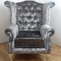 Wing Chair - Queen Anne style -  pewter crushed velvet