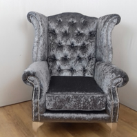 Queen Anne style - Wing chair - chrome studding detail