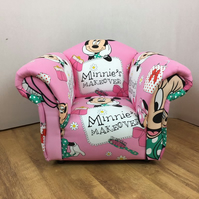 Pink Minnie Mouse Theme Childrens Armchair
