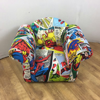 Children's Armchair in Marvel Comics Themed Fabric